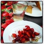 Waffeln mit Erdbeeren
