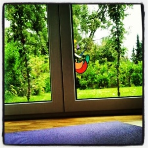 Yoga mit Blick in den Garten